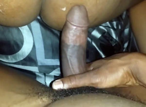Hefty jism blast on ebony butt in home..