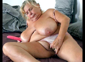 Chubby grannie wringing her bumpers..