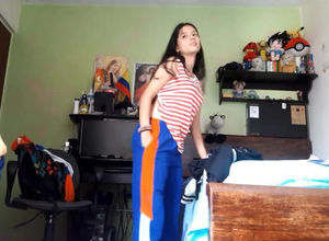 Adorable latina teenage changing,..