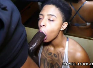 Large boobed inked black Girlfriend..
