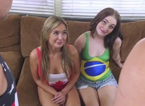 Nubile sisters lose bet and pummeled..