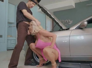 wifey with mechanic in the garage..