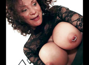 Playful grandma with phat pierced..
