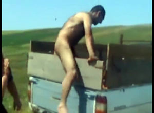 Naked farmer gets pantsed in the area
