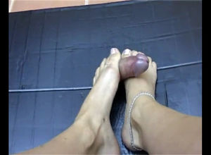 Portuguese wifey doing seductive footjob