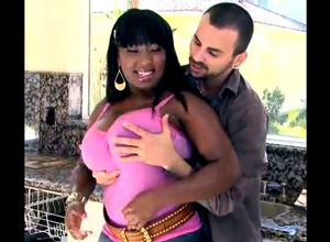 Chubby ebony honey getting rock-hard..
