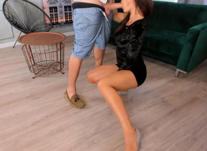Long-legged dame humped from behind..